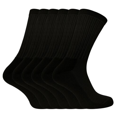 (6-11 UK, Black) Sock Snob - 6 Pack Mens Bamboo Organic Cotton Running Sport Socks