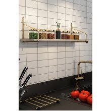 P&W Floating Wall Shelf Solid Wood Golden Plated Stainless Wire