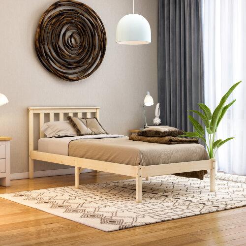 (Single, Pine) Milan Bed Frame Low Foot End Solid Pine Wood Frame