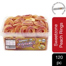 Sweetzone Peach Rings Jelly Sweets Tub HMC Approved 100% Halal, 120 Pieces