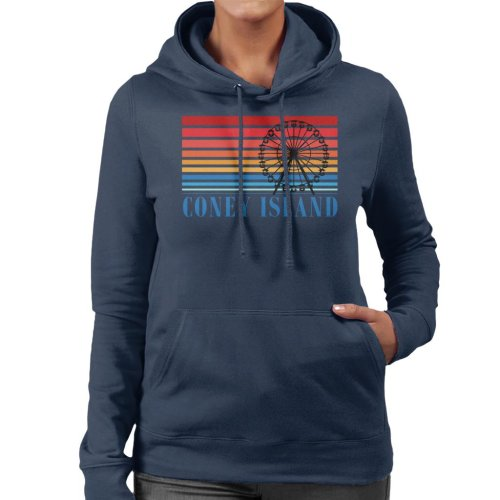 (XX-Large, Navy Blue) Coney Island Ferris Wheel Retro 70s Women's Hooded Sweatshirt