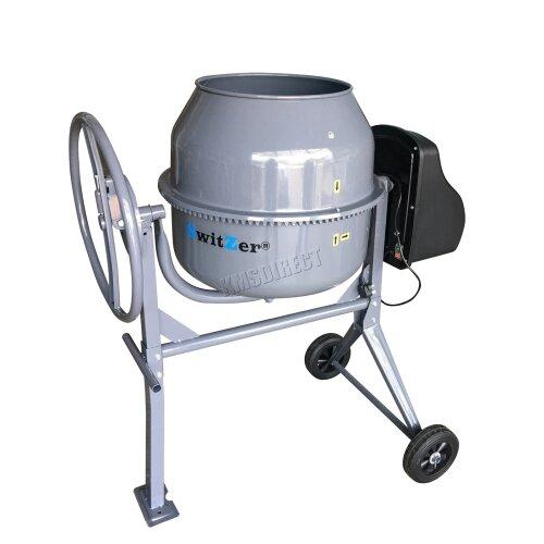 Switzer Electric Cement Mixer - Portable Mortar Plaster Concrete Drum 650W 140L