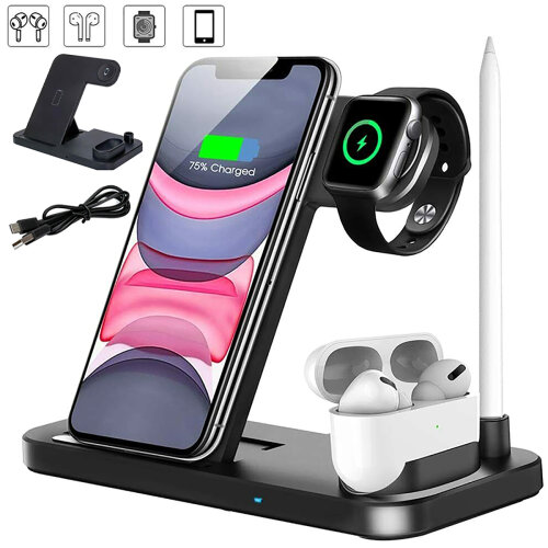 4 in1 Fast Charger Qi Wireless Charging Station for iPhone Air Pods Apple Watch Pen