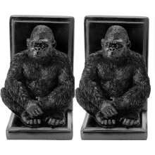 Black Bookends. Set of 2 Black Gorilla Bookends Heavyweight Resin