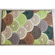 Knitted Green Polyester Area Rug Anti-slip Floor Carpet Home Furnishing Bedroom, Kitchen, Lounge Landing 150 x 80cm