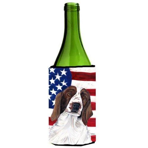 Usa American Flag With Welsh Springer Spaniel Wine bottle sleeve Hugger - 24 oz.