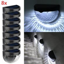 8 X LED SOLAR POWER GARDEN FENCE LIGHTS WALL OUTDOOR SECURITY LAMPS