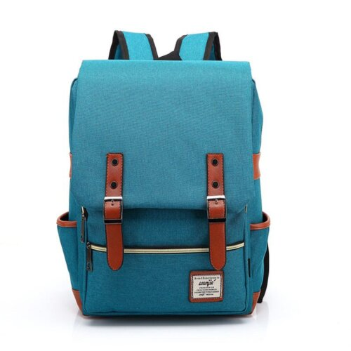 (Peacock Blue) Canvas Leather Travel Backpack Laptop Rucksack