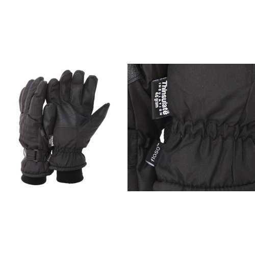 3M 40g Black FLOSO Mens Thinsulate Lined Genuine Leather Gloves M//L