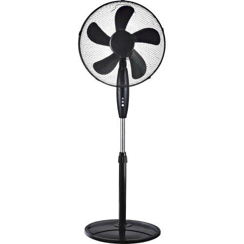 Black Oscillating Pedestal Fan 3 Speeds & 5 Blades Cooling 16 Inches