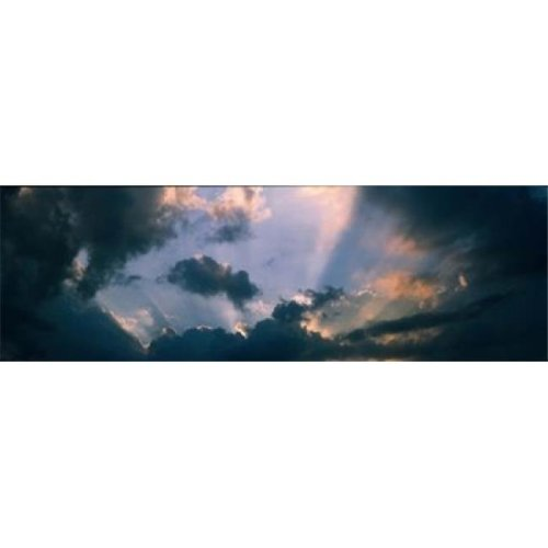 Clouds With God Rays Poster Print by  - 36 x 12