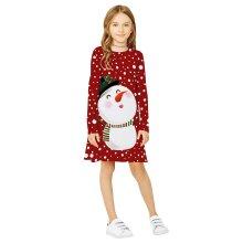 Girls Casual Long Sleeve Christmas Cartoon Dress