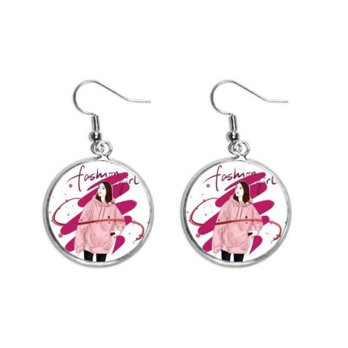 Fashion Girl Figure Art Design Illustration Ear Dangle Silver Drop Earring Jewelry Woman