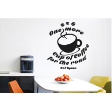 Bob Dylan One More Cup Of Coffee For The Road Wall Stickers Art Decals - Large (Height 57cm x Width 65cm) Black