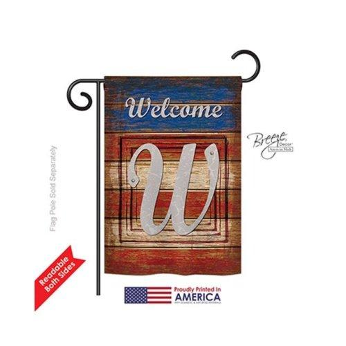 Breeze Decor 80127 Patriotic W Monogram 2-Sided Impression Garden Flag - 13 x 18.5 in.