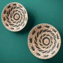 Fabulous Seagrass Wall Hanging Decor Round Plates Boho Vintage Retro Wicker Rattan 2pk - Swirl