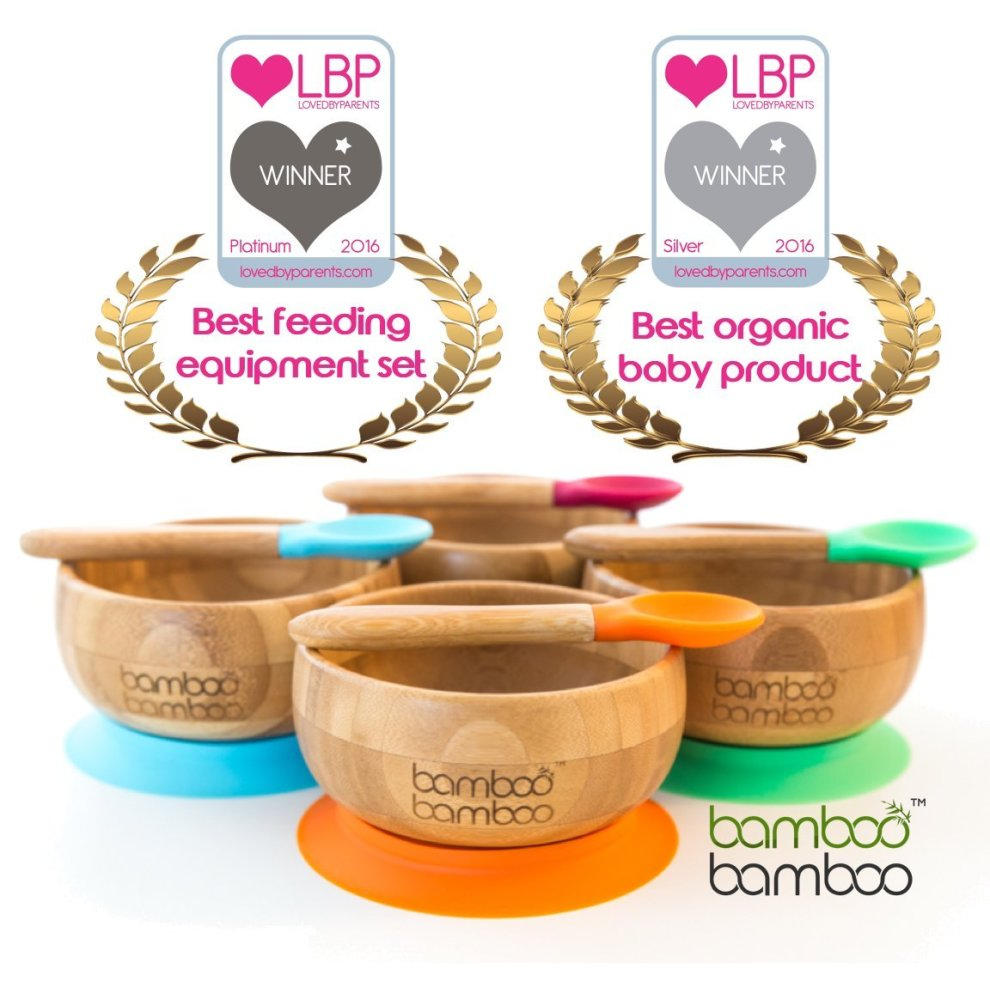 Natural Bamboo Baby Suction Bowl and Matching Spoon Set Suction Stay Put Feeding Bowl Cherry