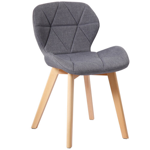 Set of 2 Diamond Patterned Dining Chairs with Beech Wood Legs