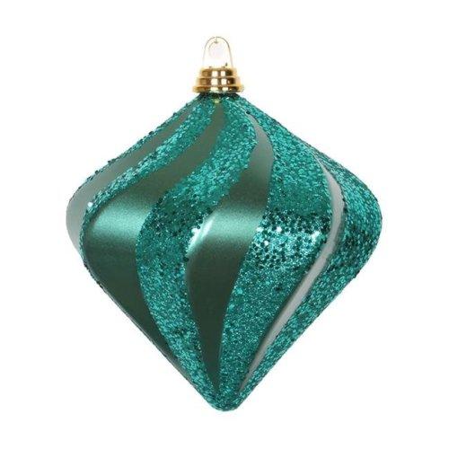 Vickerman M133324 Emerald Candy Glitter Swirl Diamond Ornament, 8 in.