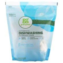 Grab Green, 60 Automatic Dishwashing Detergent Pods, Fragrance Free