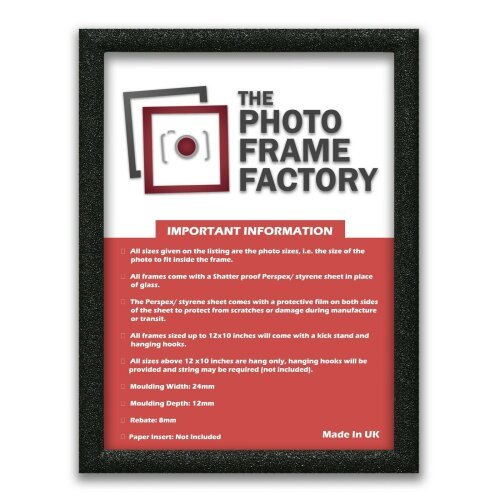 (Black, 12x6 Inch) Glitter Sparkle Picture Photo Frames, Black Picture Frames, White Photo Frames All UK Sizes