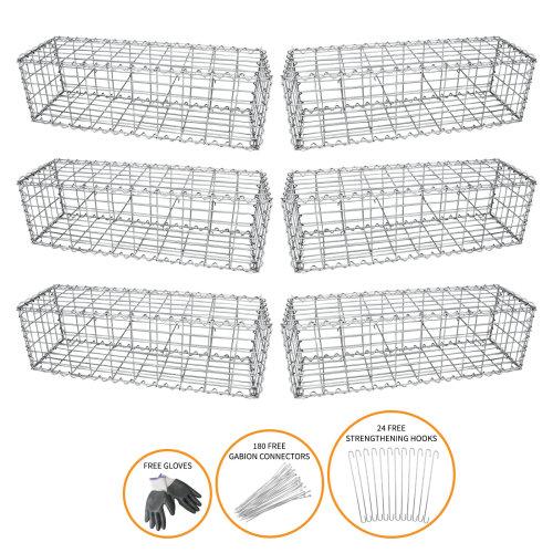 Gabion Baskets Mesh Stone Planter Garden / 100 x 30 x 30cm / 6 Pack