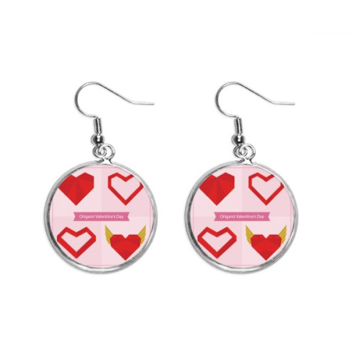 Red Abstract Christmas Heart Origami Ear Dangle Silver Drop Earring Jewelry Woman