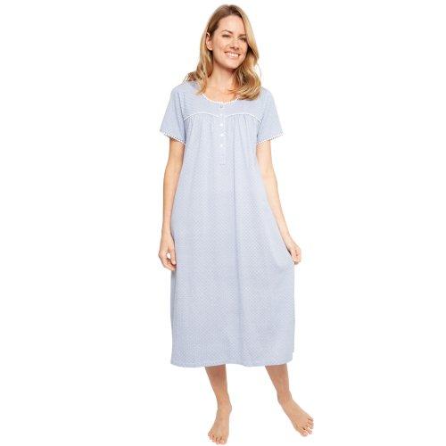 (Blue, 10) Cyberjammies 1365 Women's Nora Rose Ellen Blue Fan Print Cotton Knit Nightdress