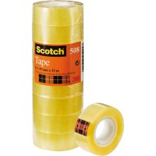 Scotch General Purpose Office Utility Tape - Transparent - 8 Rolls - 19mm x 33 m