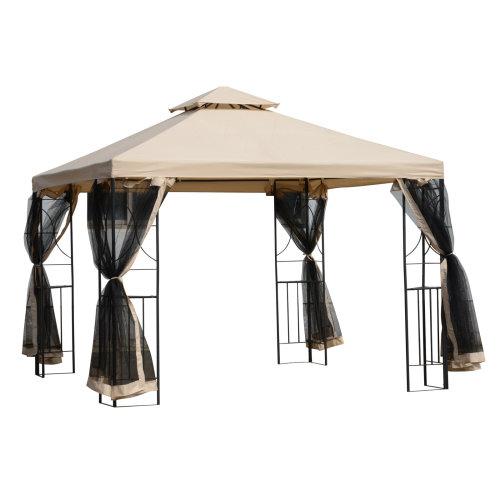 Outsunny 3x3(m) Outdoor Gazebo Patio Pavilion Canopy Tent w/ Netting & Shelf
