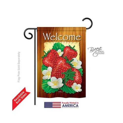 Breeze Decor 67023 Welcome Strawberries 2-Sided Impression Garden Flag - 13 x 18.5 in.