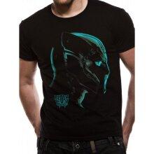 Black Panther Men's T-Shirt Neon Face T'Challa Marvel Cotton Black X Large