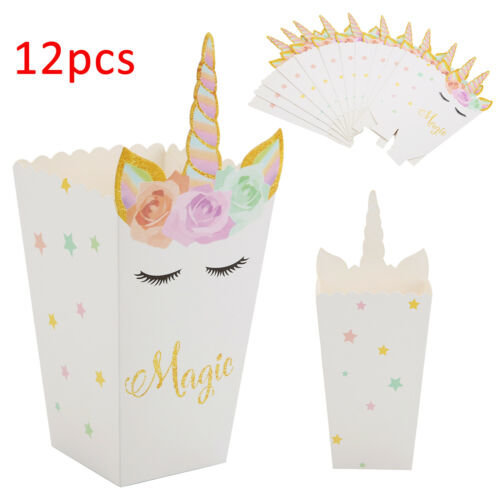 12PCS Unicorn Popcorn Candy Boxes Paper Bag Home Birthday DIY