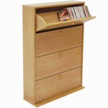 CD 200 - Tilting 4 Drawer Media 200 CD Storage Cupboard - Beech