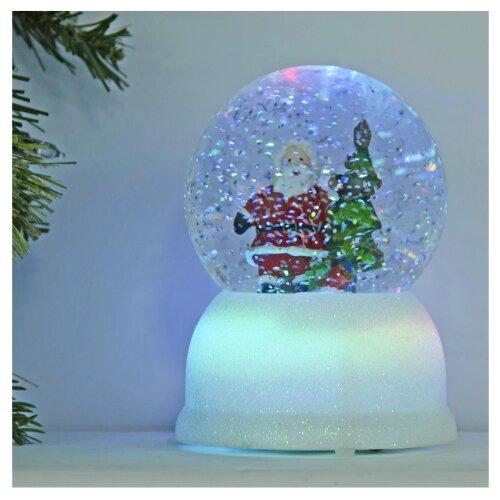 Mr Crimbo Light Up Santa Christmas Snow Globe Glitter Water Spinner 14.5cm