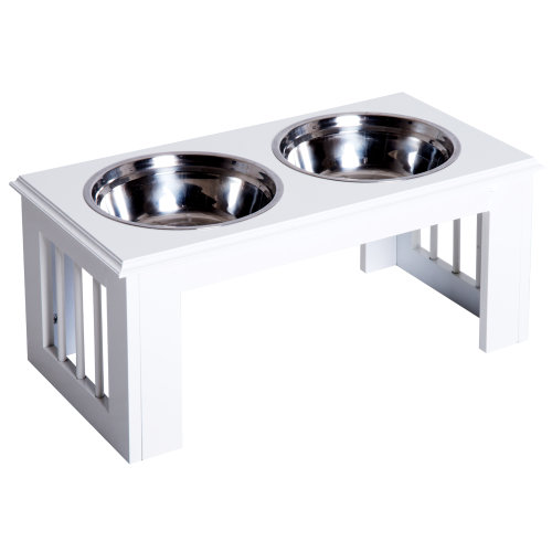 PawHut Raised Pet Feeder Elevated Double Staninless Steel Bowls Water White