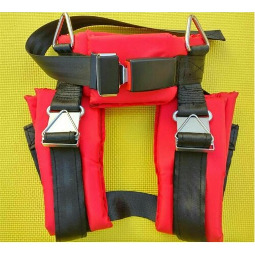 (Red) Bungee Cord Jumping Trampoline Harness, Seat Belts
