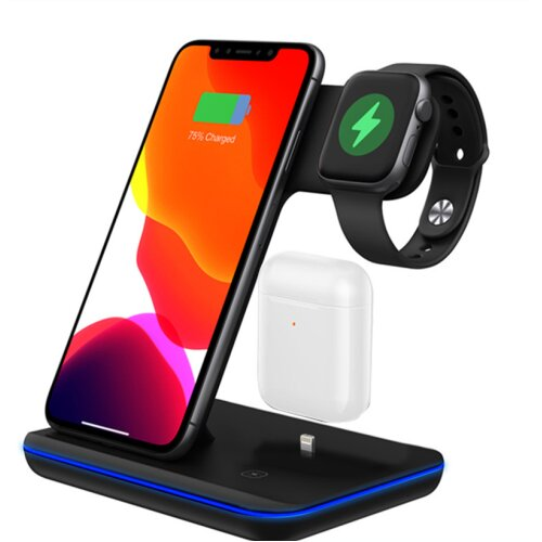 (Black) 3 in 1 Fast Qi Wireless Charging Station for Apple Watch iPhone Air Pod