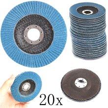 "20 x Flap Discs 125mm 40 60 80 120 Grit Grinding Wheels Discs 4.5"" Mix"