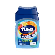 Tums Smoothies Extra Strength 750 Antacid Assorted Fruit Chewable Tablets 12ct