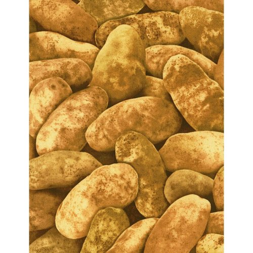 Fat Quarter Potatoes Cotton Quilting Fabric Food Spuds Chips Vegetables