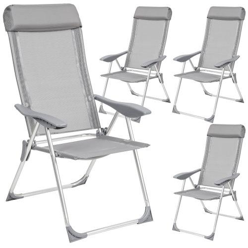 tectake 4 aluminium garden chairs with headrest - reclining garden chairs, garden recliners, outdoor chairs - grey