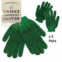 2 x Pairs Gardening Gloves Extra Rubber Grip Green Garden Working Wear Unisex