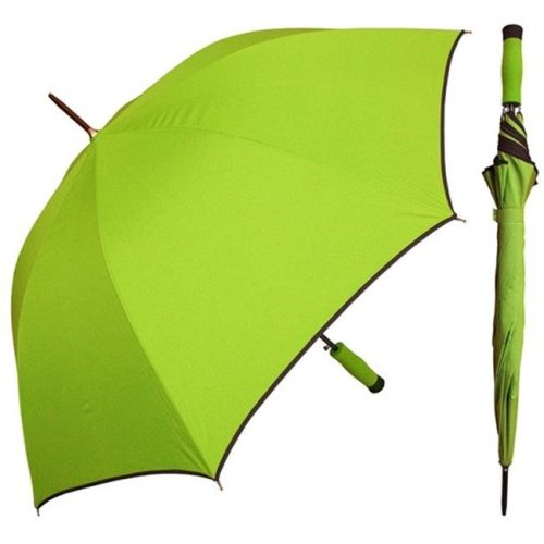 RainStoppers W071GREEN 46 in. Auto Open Bright Green Umbrella Black Piping and Matching Foam Handle, 12 Piece