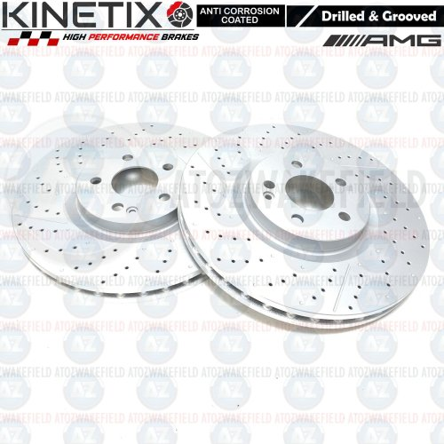FOR MERCEDES A45 AMG FRONT DRILLED DIMPLED GROOVED BRAKE DISCS PAIRS 350mm