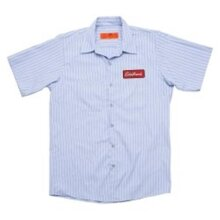 Edelbrock EDL289267 Striped Button-up Badge Patch Work Shirt - Small