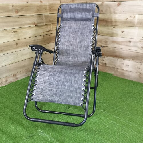 Multi Position Textoline Garden Relaxer Chair Lounger - Grey