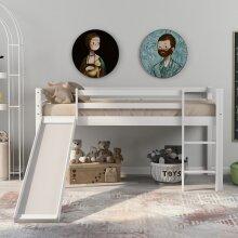 Bunk Bed for Kids with Adjustable Ladder and Slide