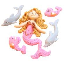 Edible Mermaid Birthday Cake Topper Decorations