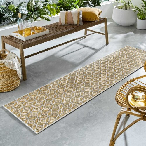 Florence Alfresco Veneto Geometric Hallway Runner in Ochre Yellow 60x230cm